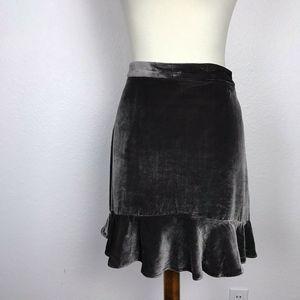 Madewell Velvet Silk Blend Ruffled Mini Skirt